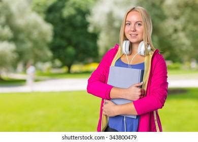 Young and attractive teenage schoolgirl