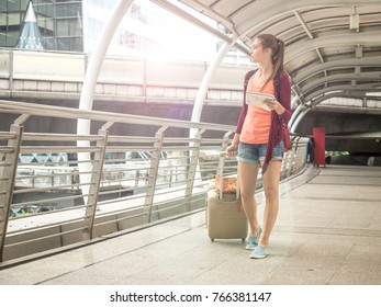 Young Attractive traveler woman  in concept of tourism to travel, Travel or exploring concept