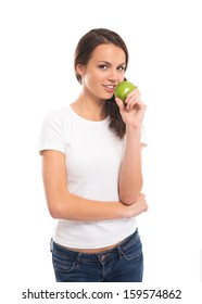 Young, attractive vegetarian girl with the green apple isolated on white