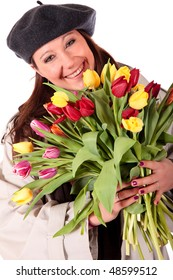 Young Attractive woman with Bouquet Easter tulips up close. studio shot, white background.