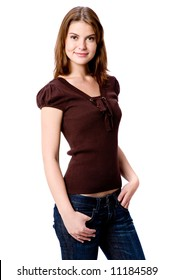 A young attractive woman in casual clothing on white background