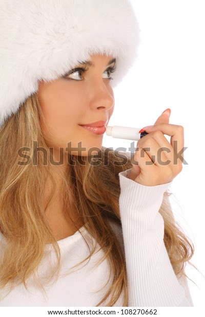 Young attractive woman with chapstick