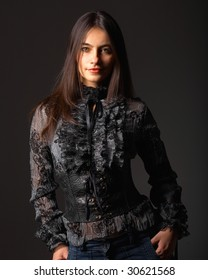 a young attractive woman in favorite clothes