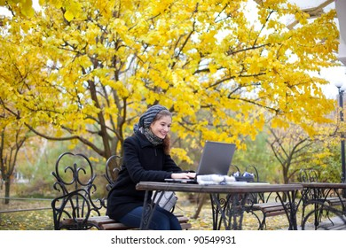 young attractive woman with laptop computer in park