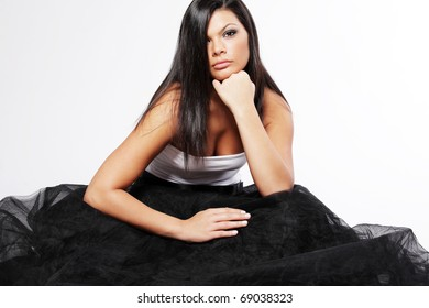 Young attractive woman with long black hair.