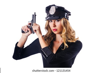 Young attractive woman police