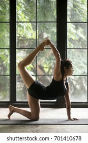 Young attractive woman practicing yoga, stretching in Bird dog exercise, tiger pose, working out, wearing sportswear, black shorts and top, indoor full length, home interior background