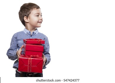 Young Baby with red Box in hands. gift box. Child is in the hands holds a big gift box. boy with gift box.
