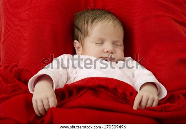 young baby sleeping, studio picture