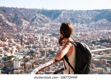Young backpacker girl in La Paz, Bolivia.