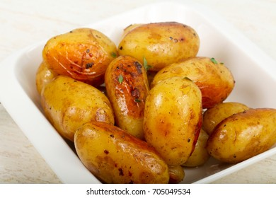 Young baked potato with rosemary