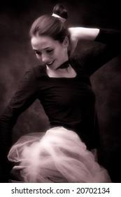 young ballerina exercise, studio shot