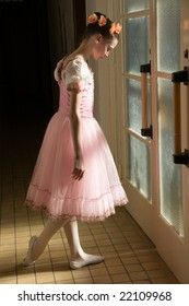 young ballerina in tutu before appearance