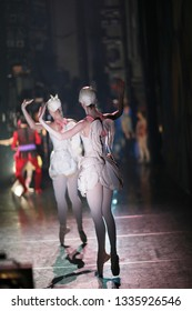 Young ballerinas on the theater stage in a fabulous production