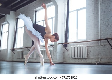 Young ballet dancer band down in studio active lifestyle
