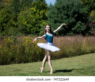 A young ballet dancer on pointe wearing a blue leotard and white tutu with a background of grasses.