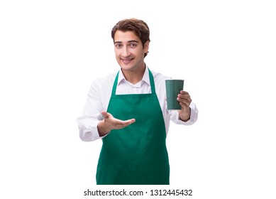 Young barista isolated on white background