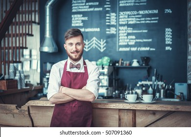 Young bartender in a apron