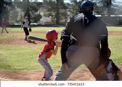 Young baseball player at the plate in official game with umpire