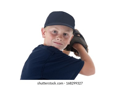 young baseball player portrait pitching left handed