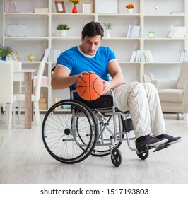 Young basketball player on wheelchair recovering from injury
