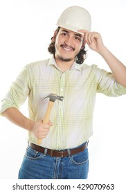 young beard man holding hammer isolated on white