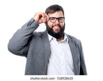 Young beard man showing his glasses