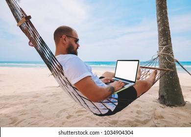 Young bearded businessman in sunglasses rest on hammock on ocean beach while working distantly on laptop computer with blank screen area for your web page advertise content during summer vacations