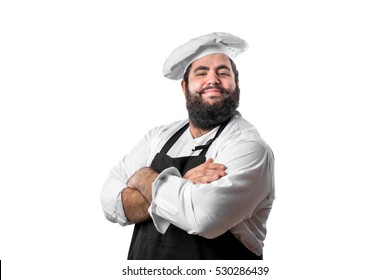 Young bearded chef with arms crossed isolated on white background