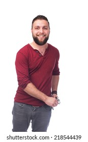 Young bearded handsome man in red shirt isolated on white