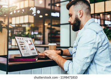 Young bearded hipster man sitting in cafe and typing on laptop with charts,graphs,diagrams on screen.Blogger works in coffee house.Businessman is developing business plan.Online marketing, education