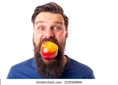 Young bearded man with amuzed facial expression holding big red apple in his mouth, isolated on white background