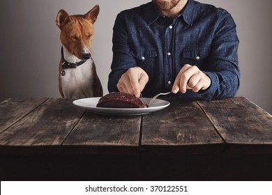 Young bearded man cuts small piece of big raw luxiry whale meat steak to share with his beautiful african dog. Dog closed eyes lovely because of pleasure