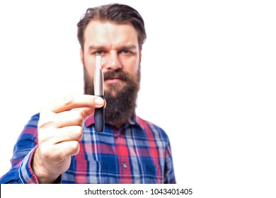 Young bearded man with electronic cigarette