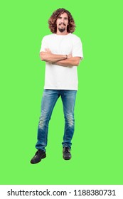 young bearded man full body gesturing  against chroma key green background. ready to cut out