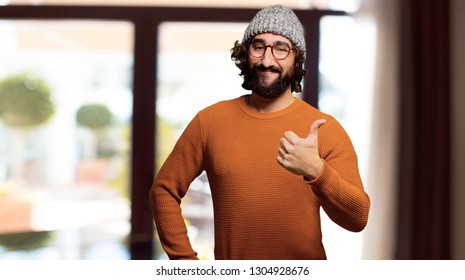 young bearded man okay or alright pose