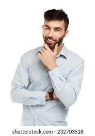 A young bearded man smiling isolated on white background