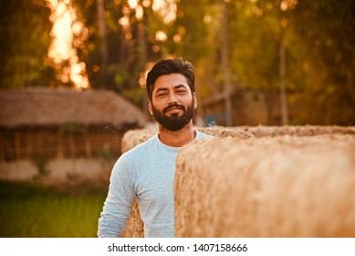 Young bearded man standing in a place in the afternoon unique photo