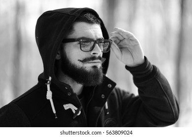 young bearded man,black and white photography