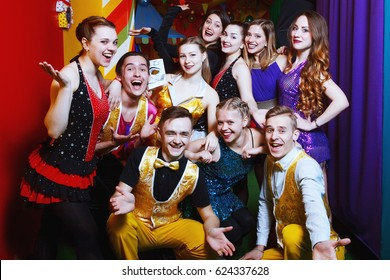 young beautiful actors in a circus