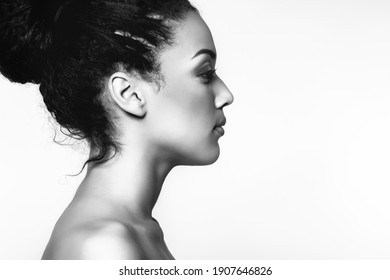 Young beautiful african american woman, black and white portrait