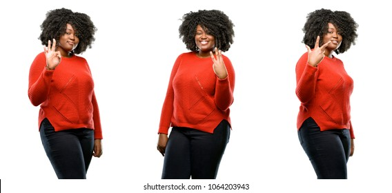 Young beautiful african plus size model raising his finger, is the number three isolated over white background. Collection composition 3 figures collage