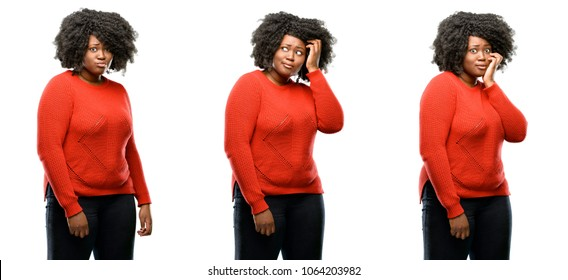 Young beautiful african plus size model happy and surprised cheering expressing wow gesture isolated over white background. Collection composition 3 figures collage