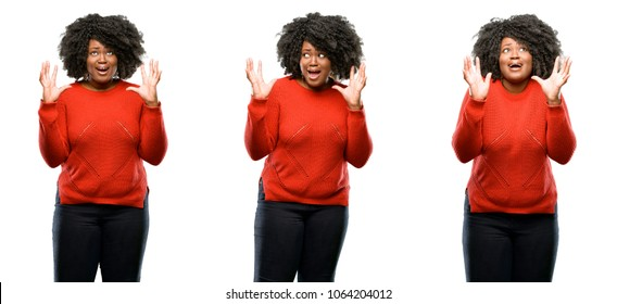 Young beautiful african plus size model terrified and nervous expressing anxiety and panic gesture, overwhelmed isolated over white background. Collection composition 3 figures collage