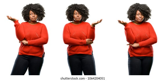 Young beautiful african plus size model irritated and angry expressing negative emotion, annoyed with someone isolated over white background. Collection composition 3 figures collage