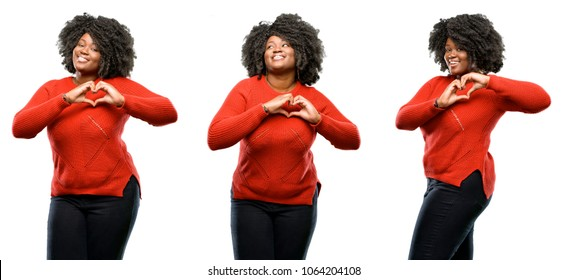 Young beautiful african plus size model happy showing love with hands in heart shape expressing healthy and marriage symbol isolated over white background. Collection composition 3 figures collage