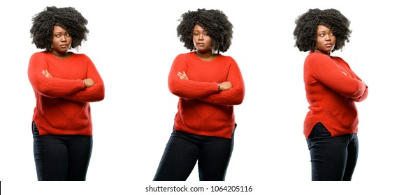 Young beautiful african plus size model nervous and scared biting lips looking camera with impatient expression, pensive isolated over white background. Collection composition 3 figures collage