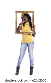 young beautiful african woman inside an antique picture frame (isolated on white)