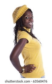 young beautiful african woman (isolated on white)