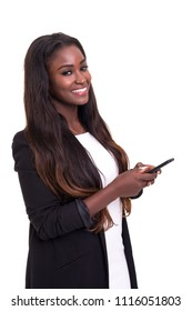 Young beautiful african woman at the phone, isolated over white background